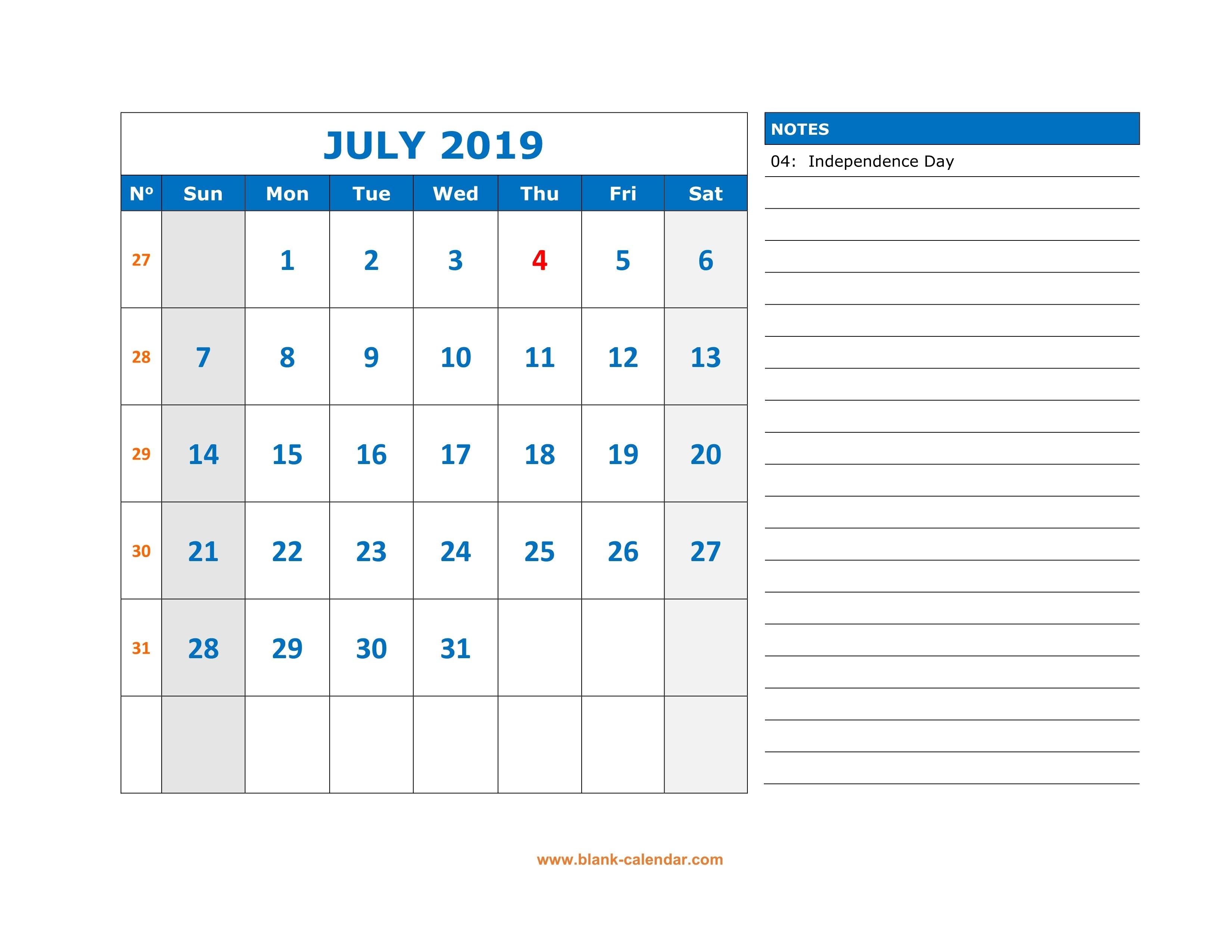 Free Download Printable July 2019 Calendar, Large Space For July 9 2019 Calendar