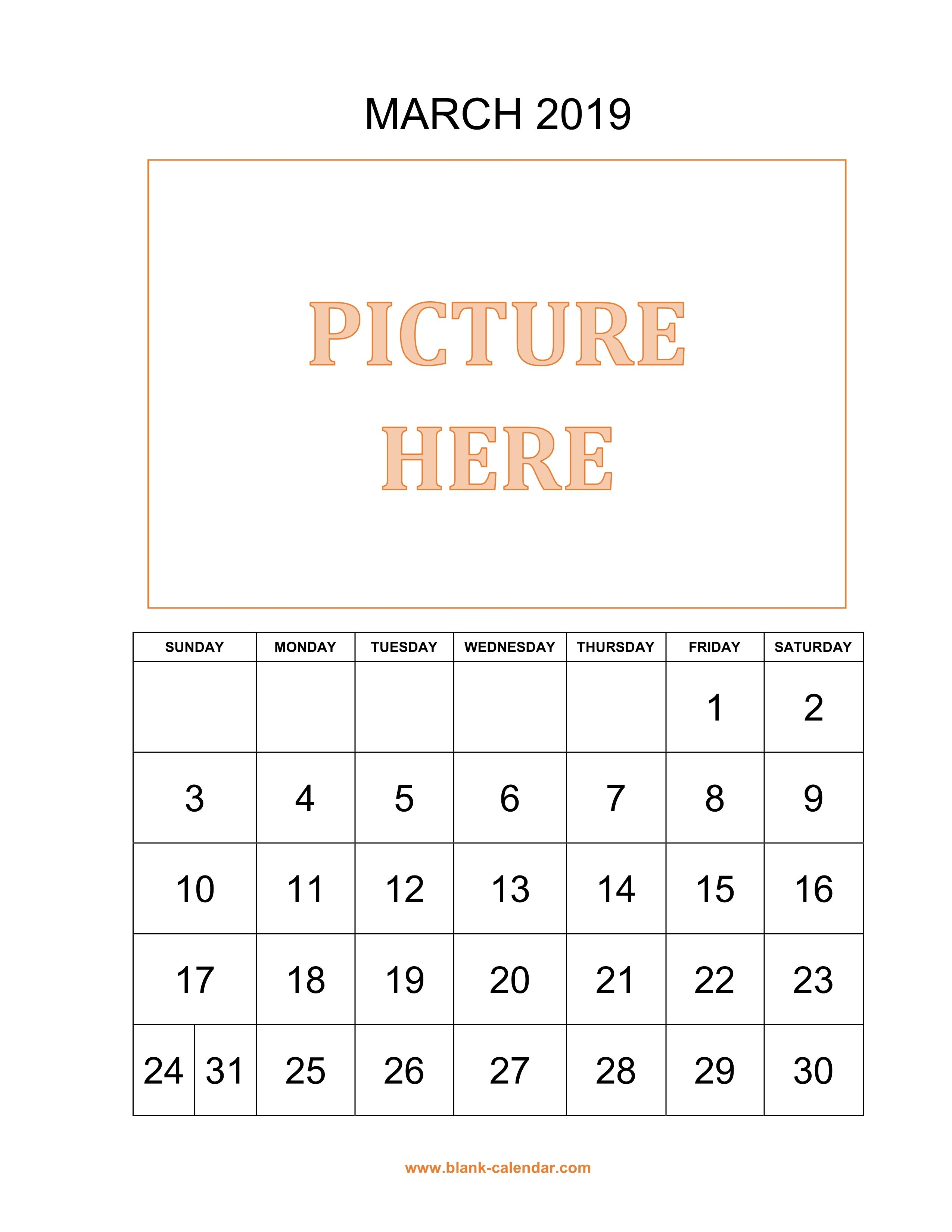 Free Download Printable March 2019 Calendar, Pictures Can Be Placed March 6 2019 Calendar