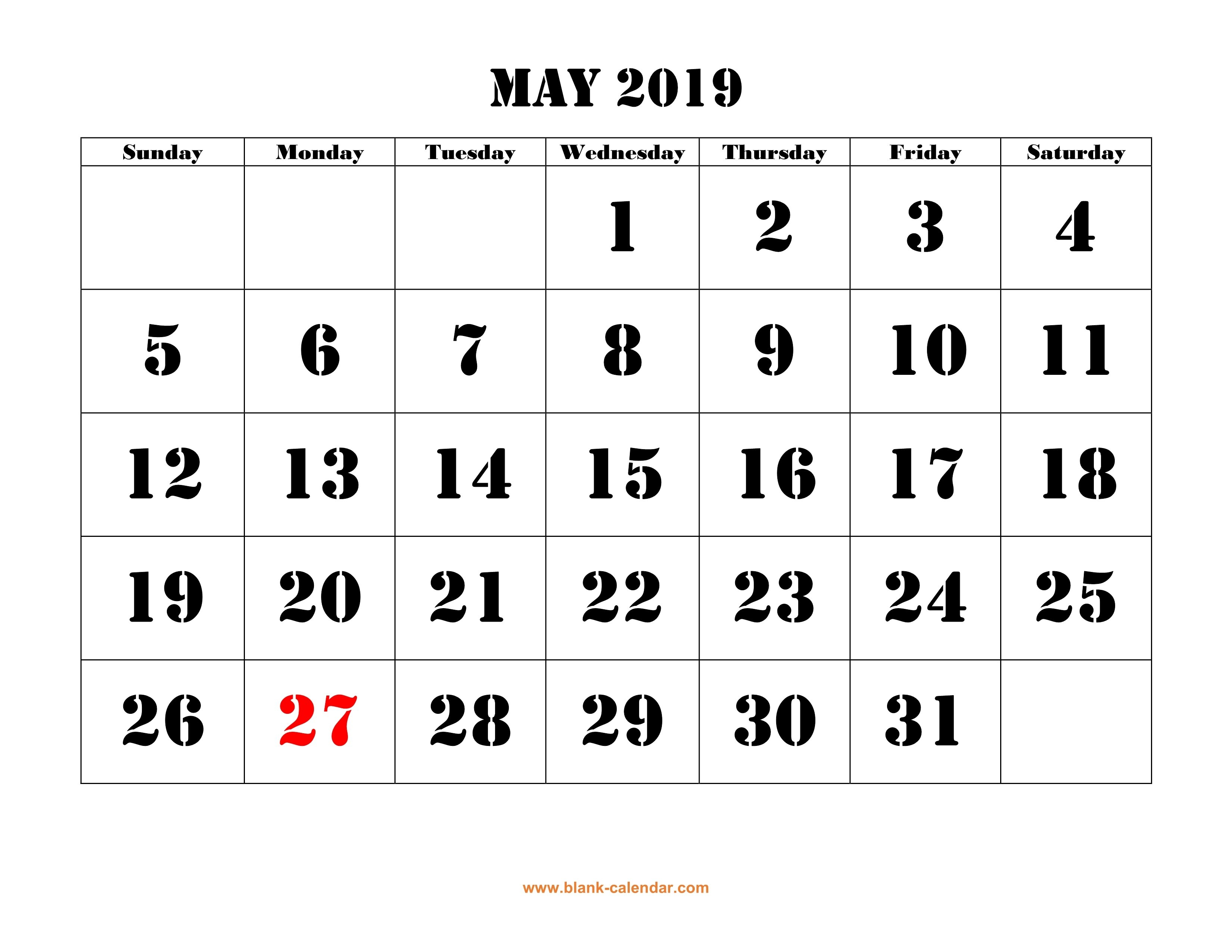 Free Download Printable May 2019 Calendar, Large Font Design May 6 2019 Calendar