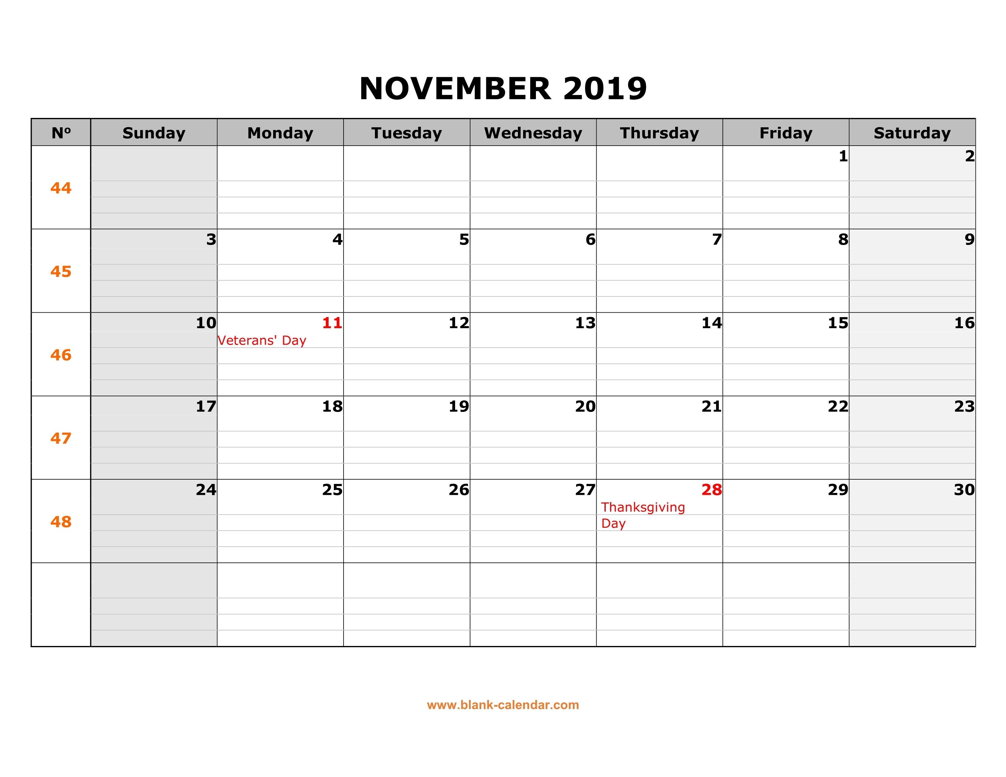 Free Download Printable November 2019 Calendar, Large Box Grid Calendar 2019 Thanksgiving