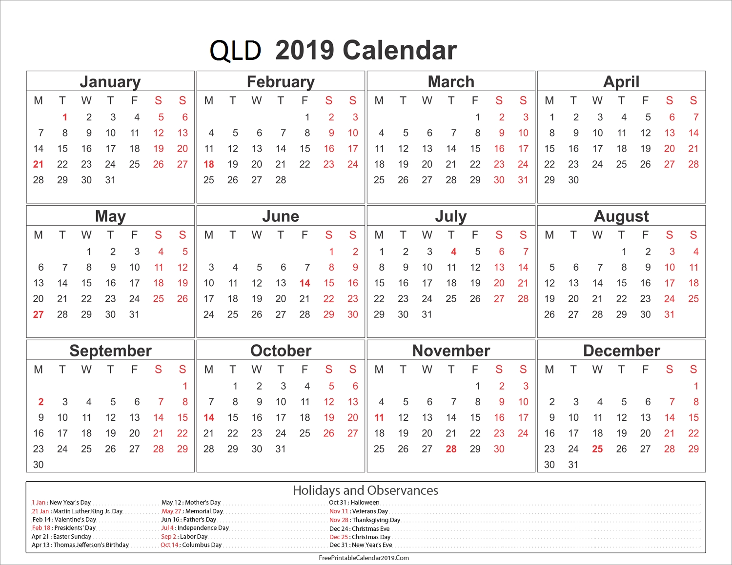 Free Download Printable Yearly Calendar 2019 Template With Qld 2019 Calendar Qld Printable