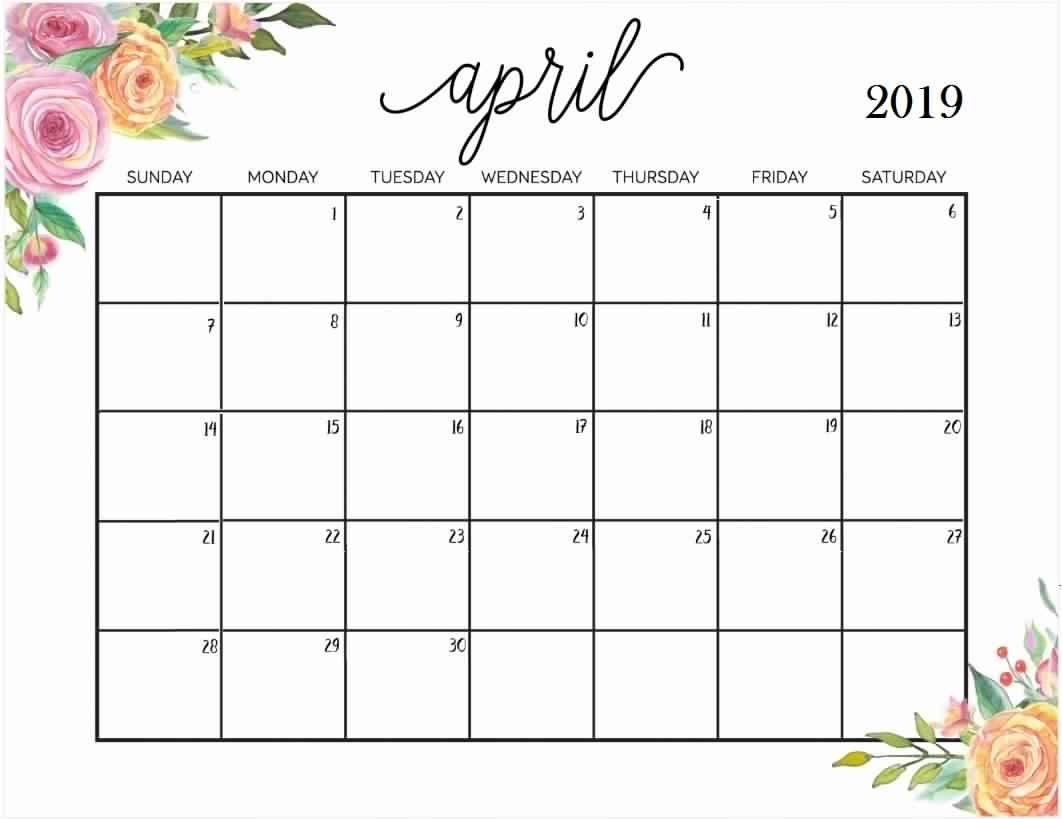Free Download Template April 2019 Calendar Template – Free Calendar Calendar 2019 Free Download