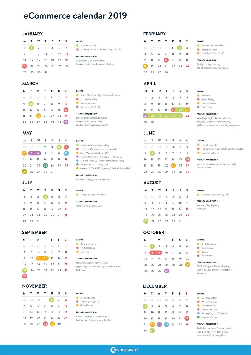 Free Ecommerce Marketing Calendar For 2019 | Shopware (En) Calendar 2019 Order Online