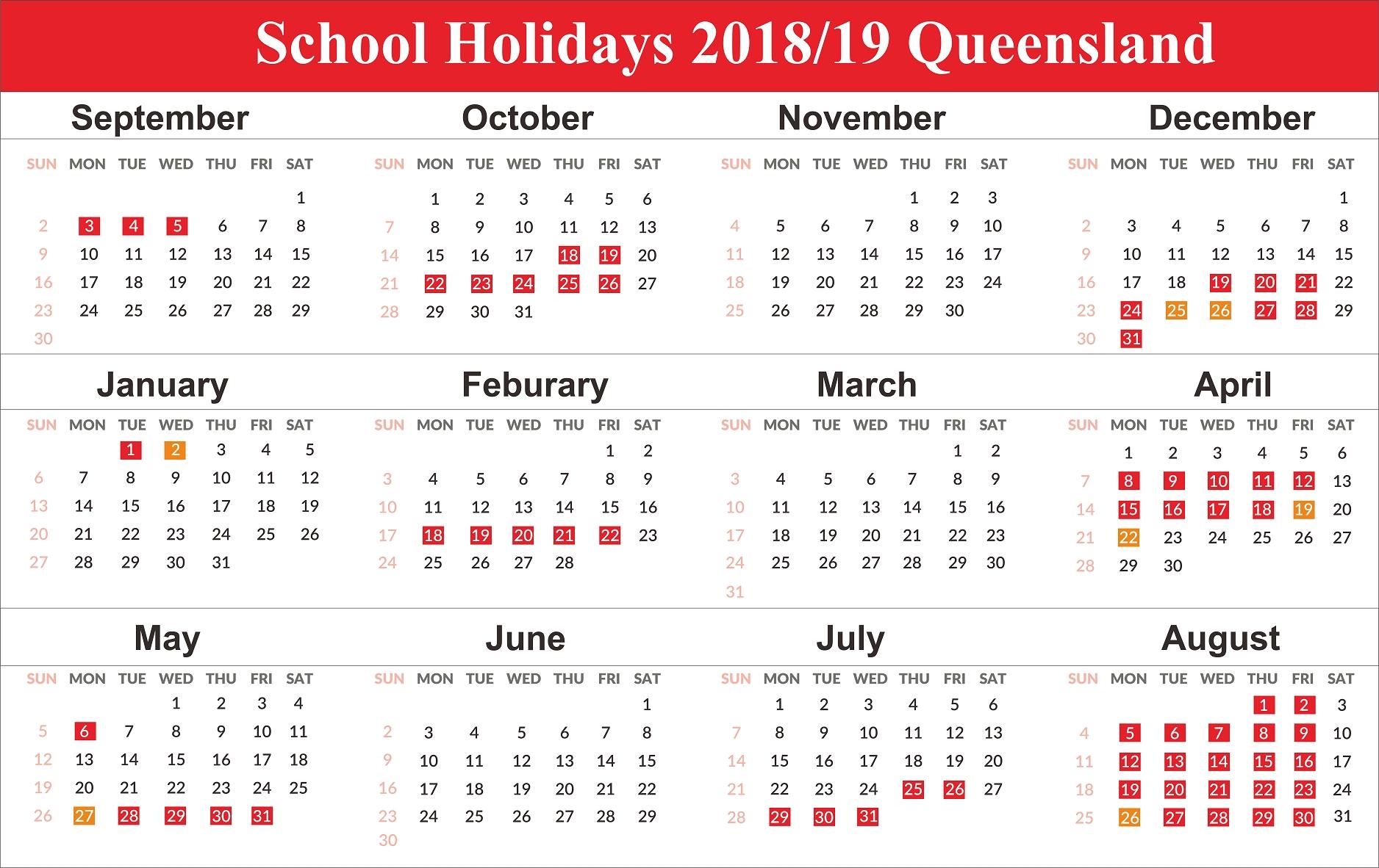 Free Editable School Holidays 2019 Calendar Qld (Queensland 2019 Calendar Qld Printable