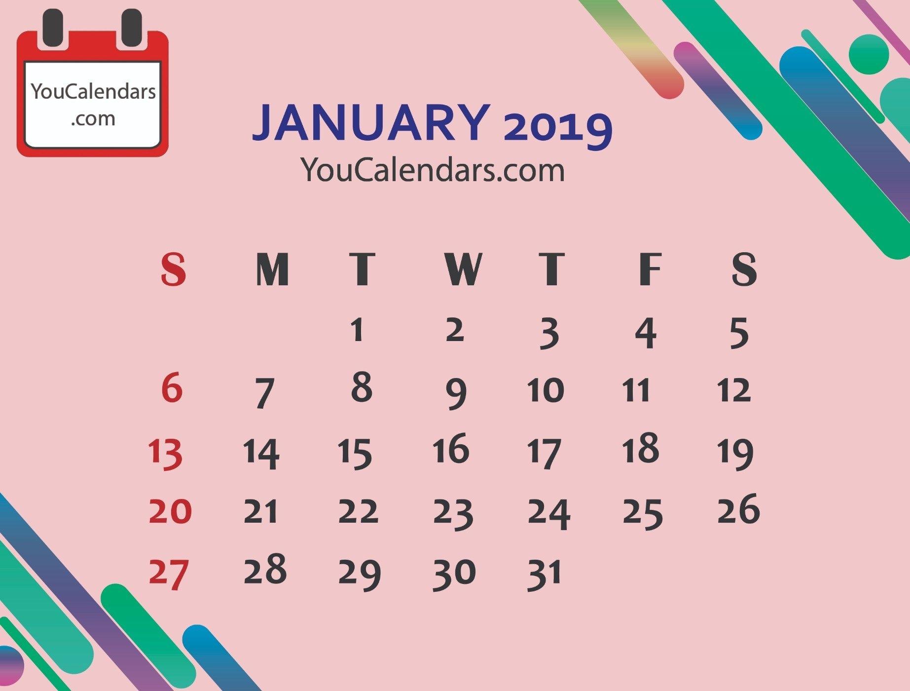 Free January 2019 Calendar Printable Template – You Calendars January 5 2019 Calendar