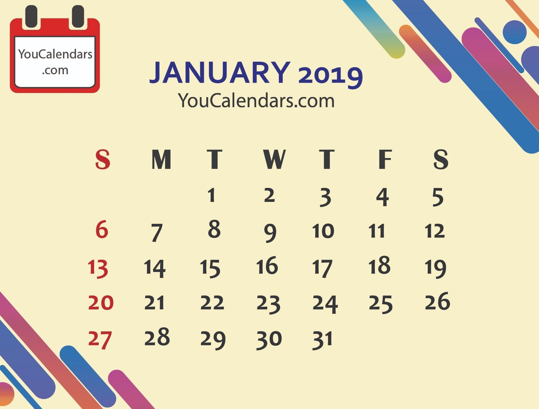 Free January 2019 Calendar Printable Template – You Calendars January 8 2019 Calendar