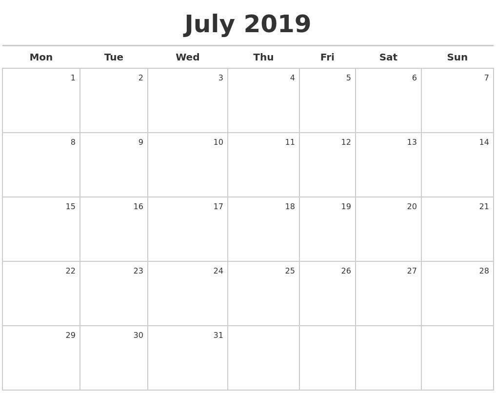 Free July 2019 Printable Calendar Pdf Word Excel   Free Editable Calendar 2019 Excel Starting Monday