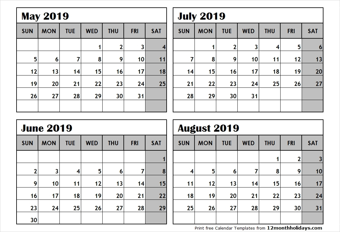 Free Printable 2019 4 Months Per Page Calendar Download | June 2018 2019 Calendar 4 Months Per Page