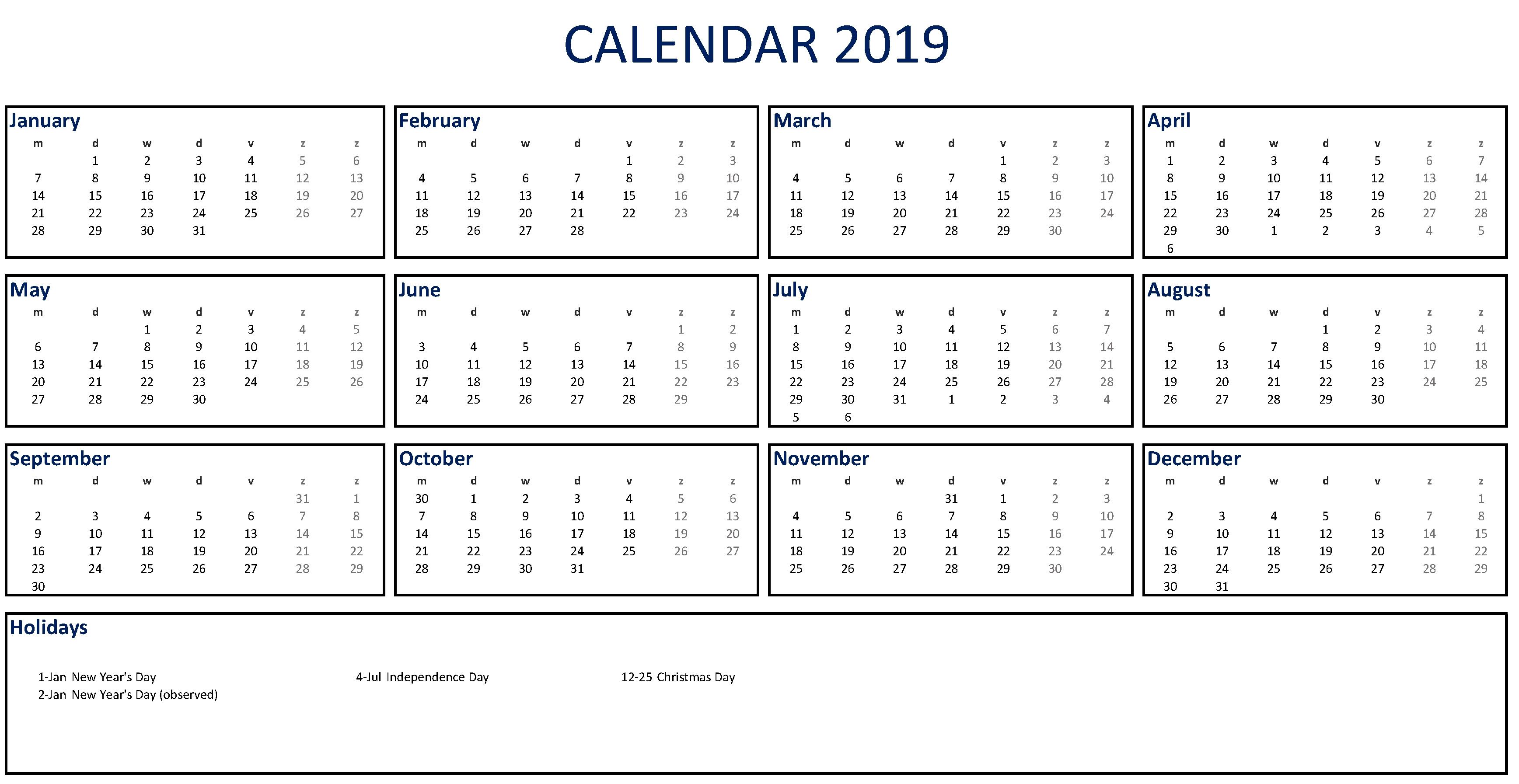 Free Printable 2019 Calendar Excel | Templates At Calendar Zoom 2019