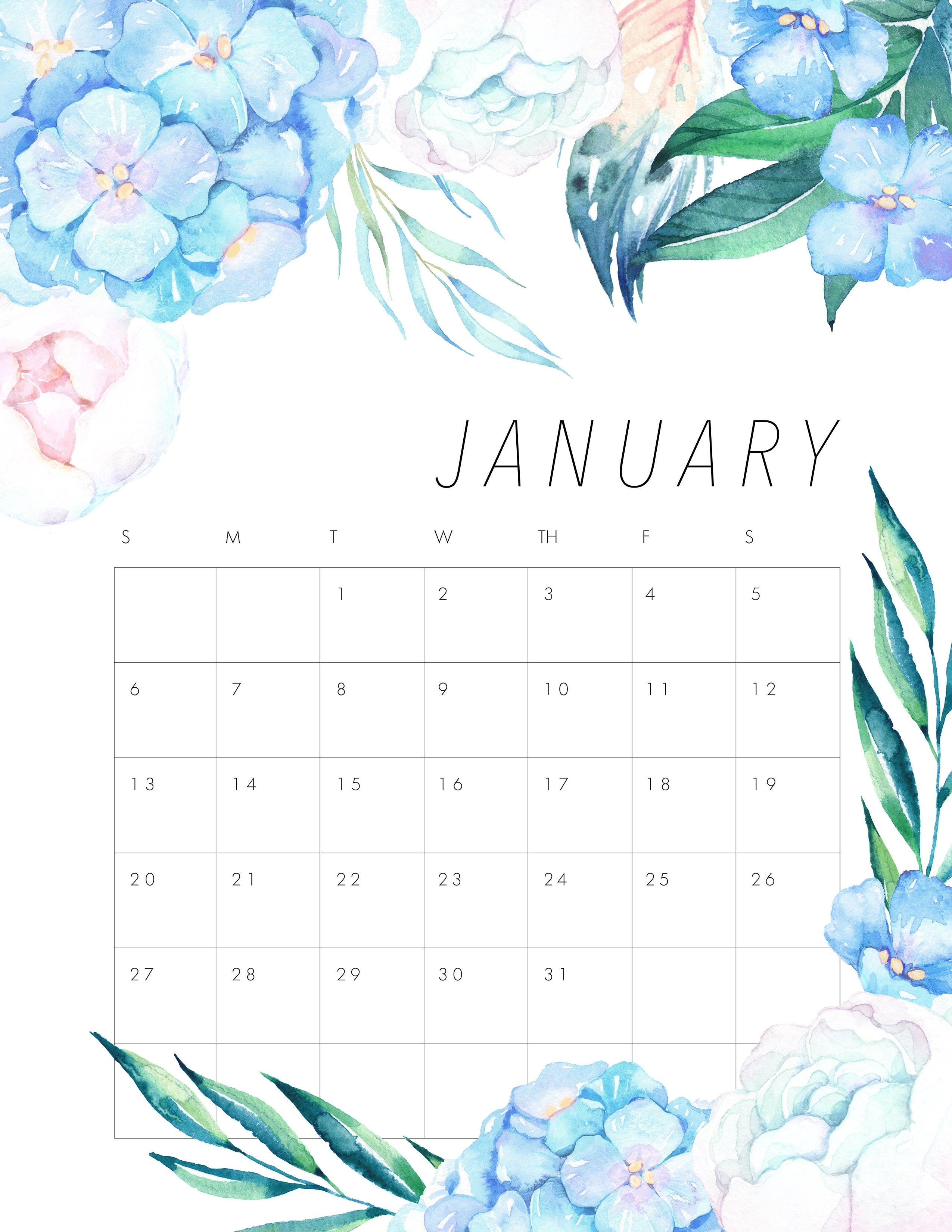 Free Printable 2019 Floral Calendar – The Cottage Market 2019 Calendar 8.5 X 11 Printable