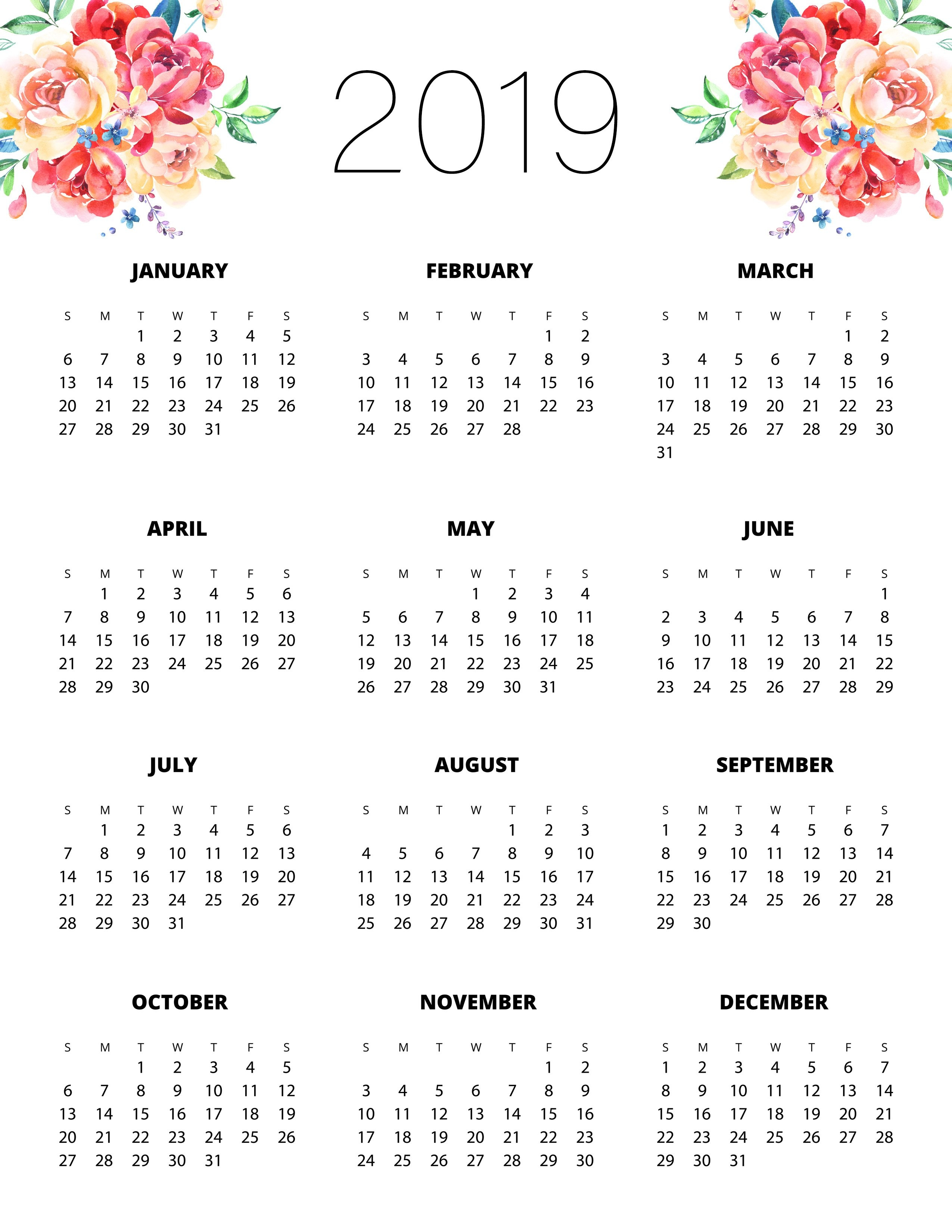 Free Printable 2019 Planner 50 Plus Printable Pages!!! – The Cottage Calendar 2019 Print Free