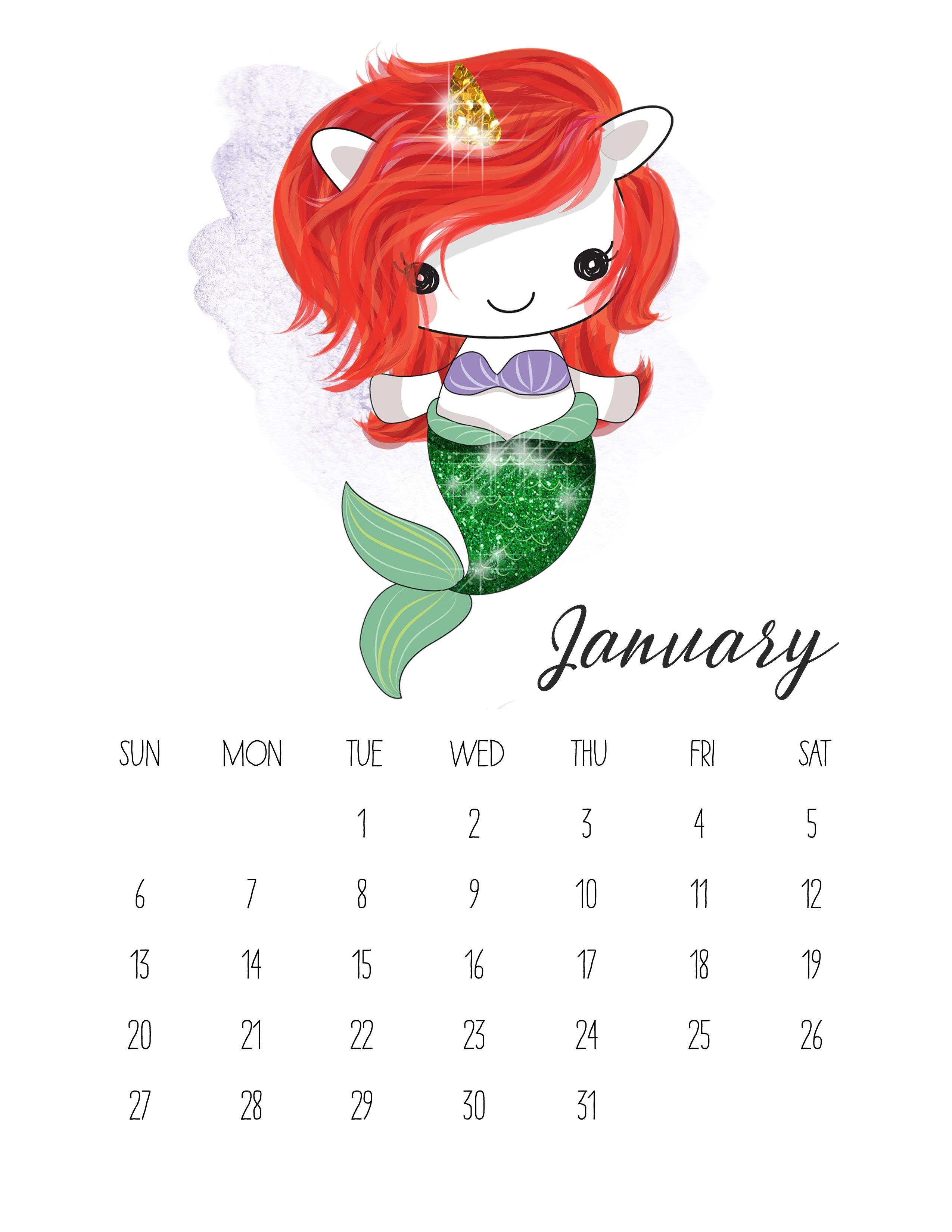 Free Printable 2019 Pop Culture Unicorn Calendar – The Cottage Market Calendar 2019 Unicorn