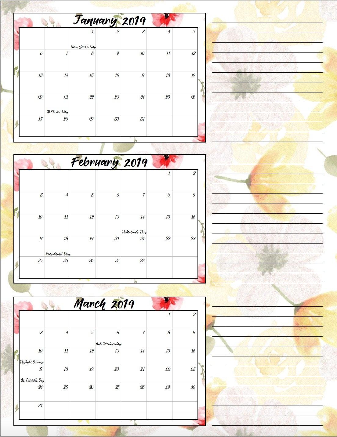 Free Printable 2019 Quarterly Calendars With Holidays: 3 Designs Calendar 2019 Quarterly