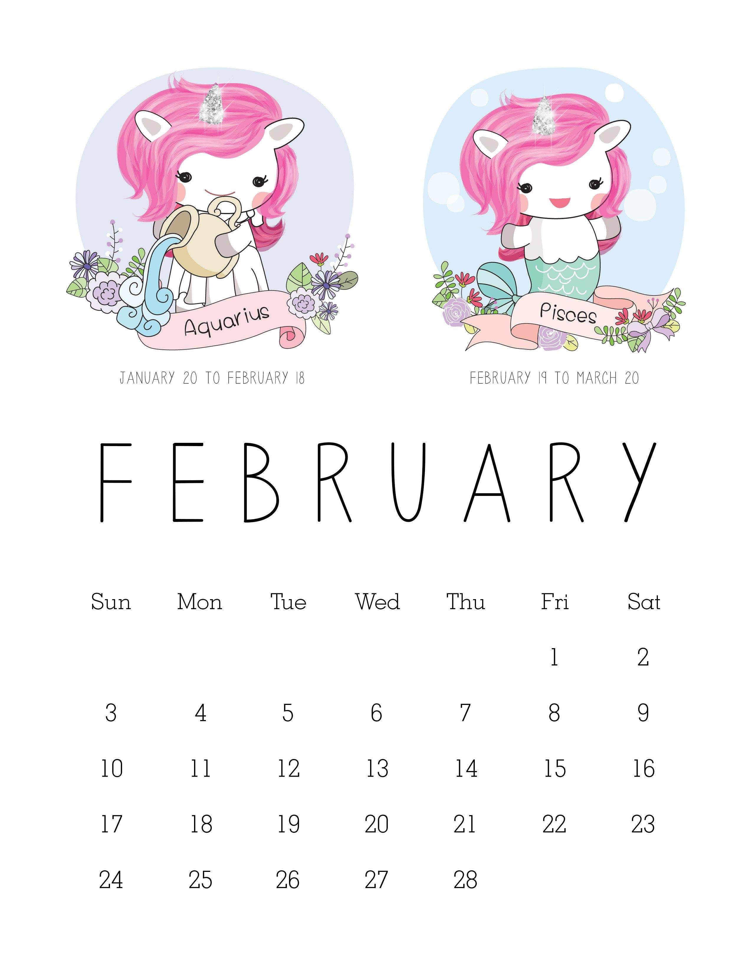 Free Printable 2019 Zodiac Sign Kawaii Unicorn Calendar – The Calendar 2019 Unicorn