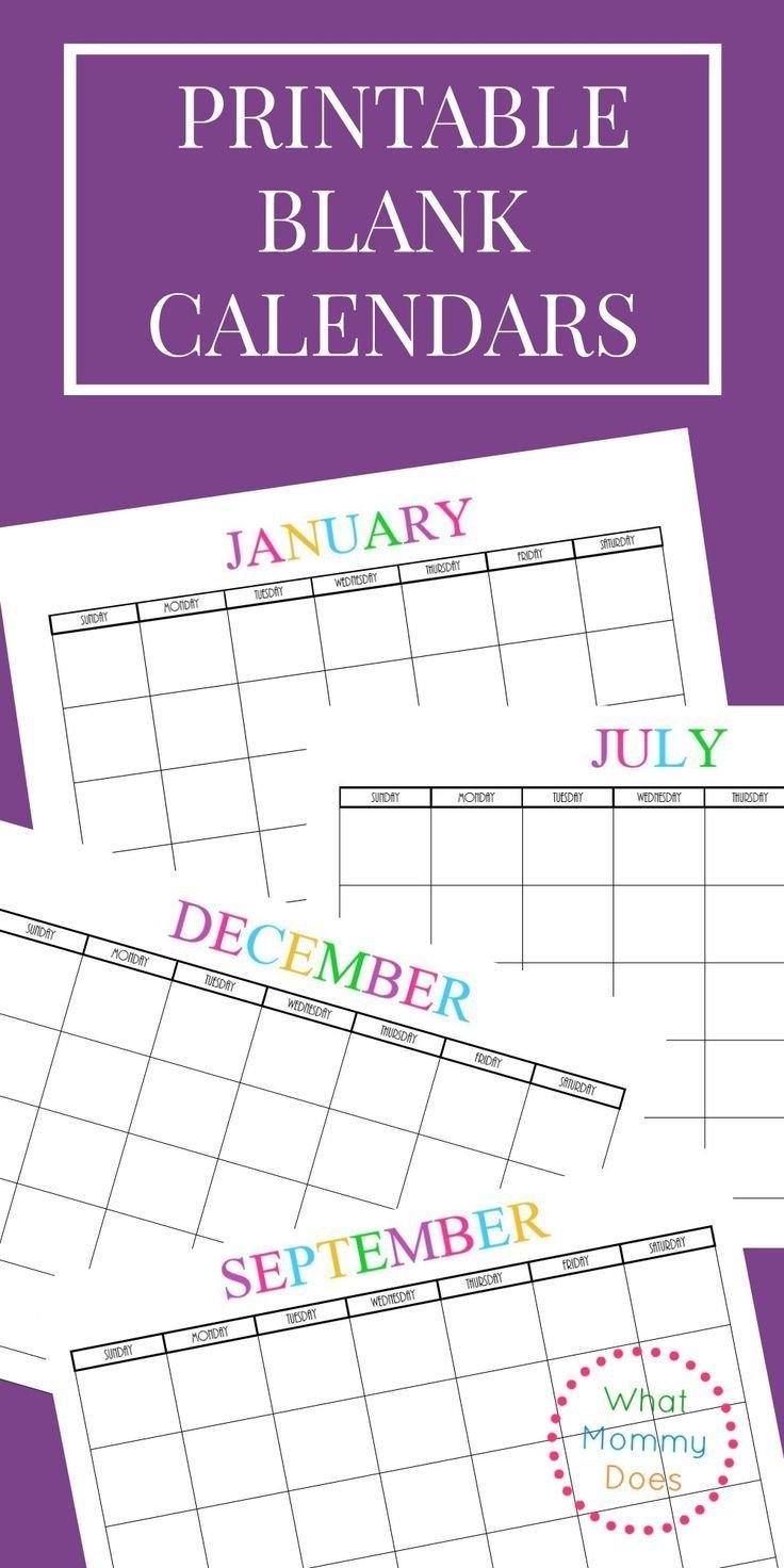 Free Printable Blank Monthly Calendars – 2018, 2019, 2020, 2021 2019 Calendar 8X11