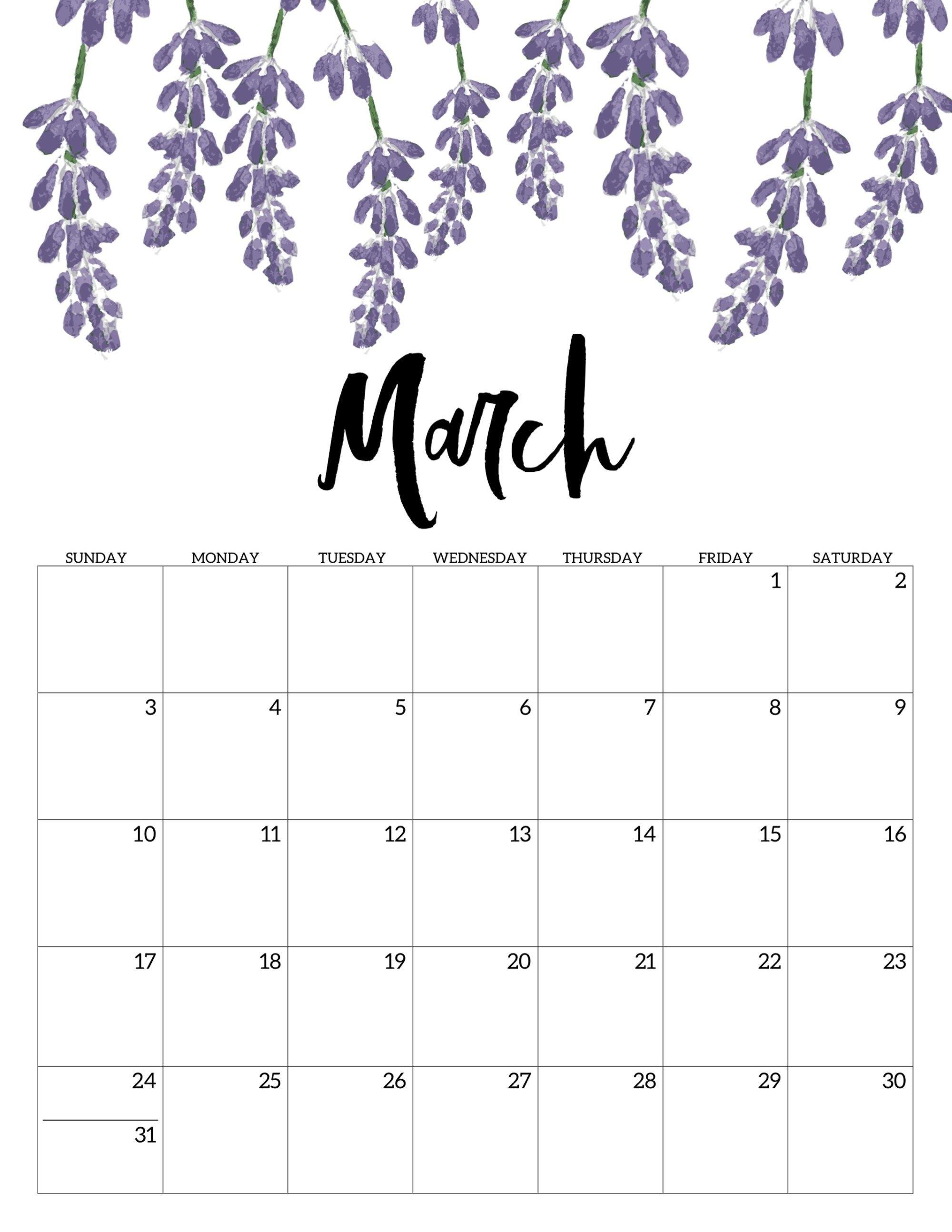 Free Printable Calendar 2019 - Floral | Calendar | Calendar, Free Calendar 2019 Print Free