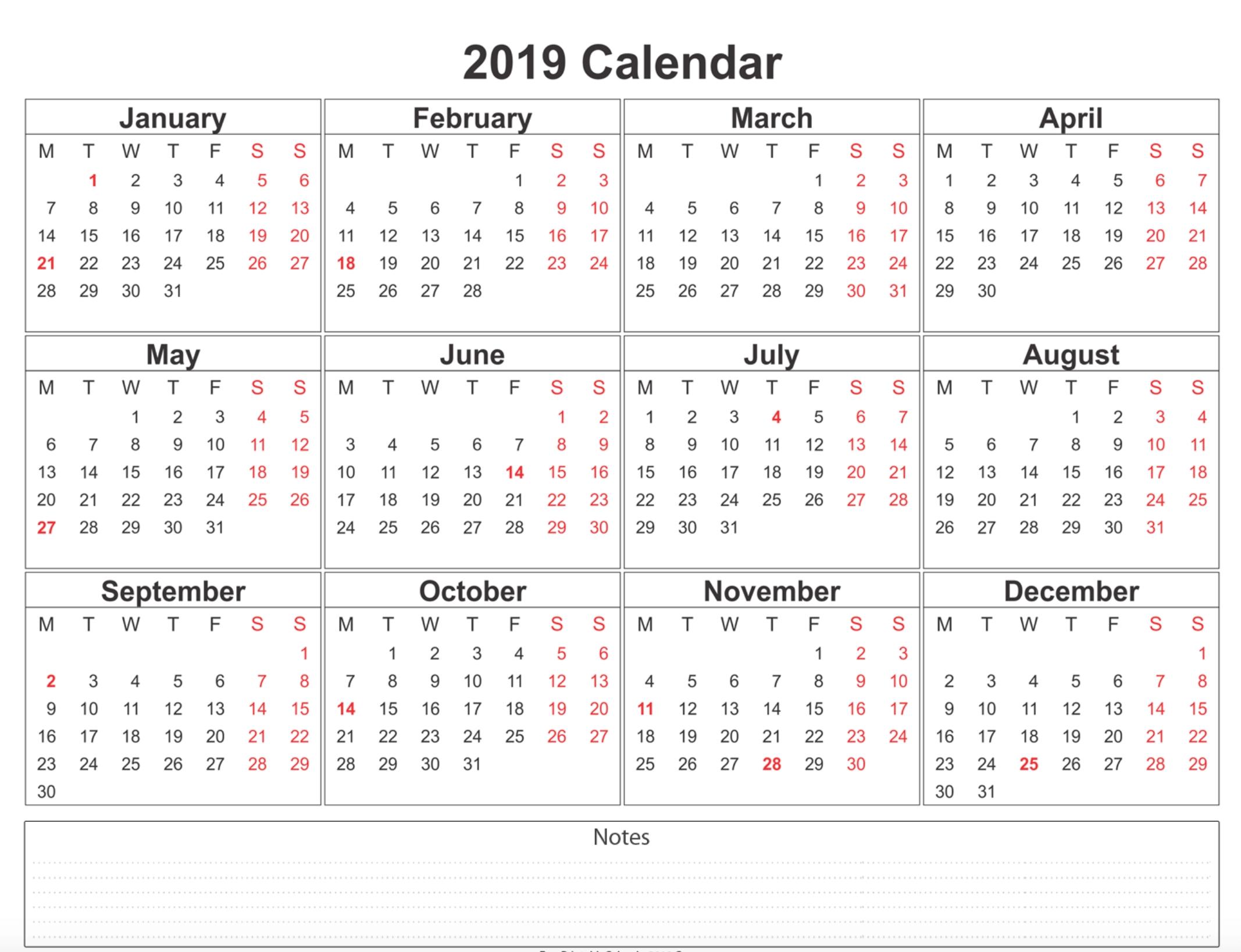 Free Printable Calendar 2019 With Holidays | Blank 12 Month Calendar Calendar 2019 Excel Free