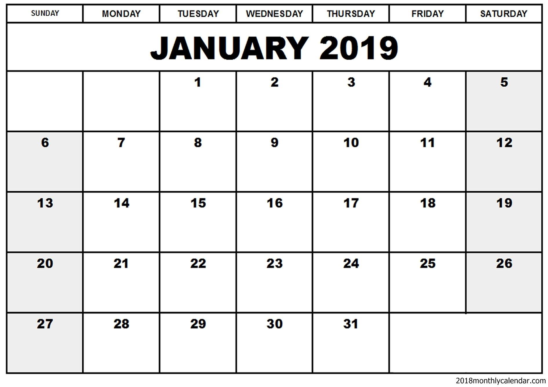 Free Printable January 2019 Editable Calendar [Download] | Printable 2019 Calendar You Can Edit