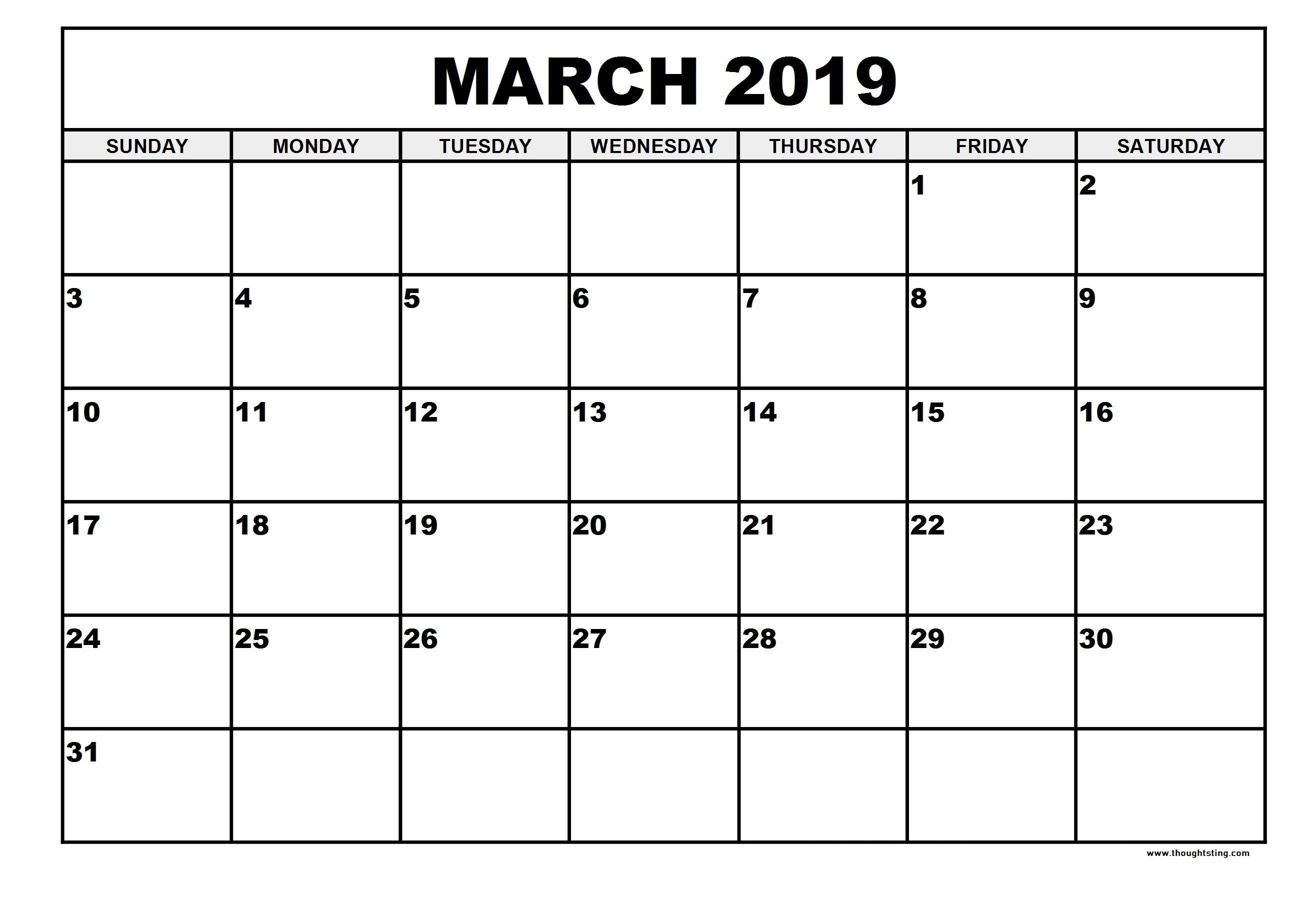 Free Printable March 2019 Calendar Portrait, Landscape – Free March 1 2019 Calendar