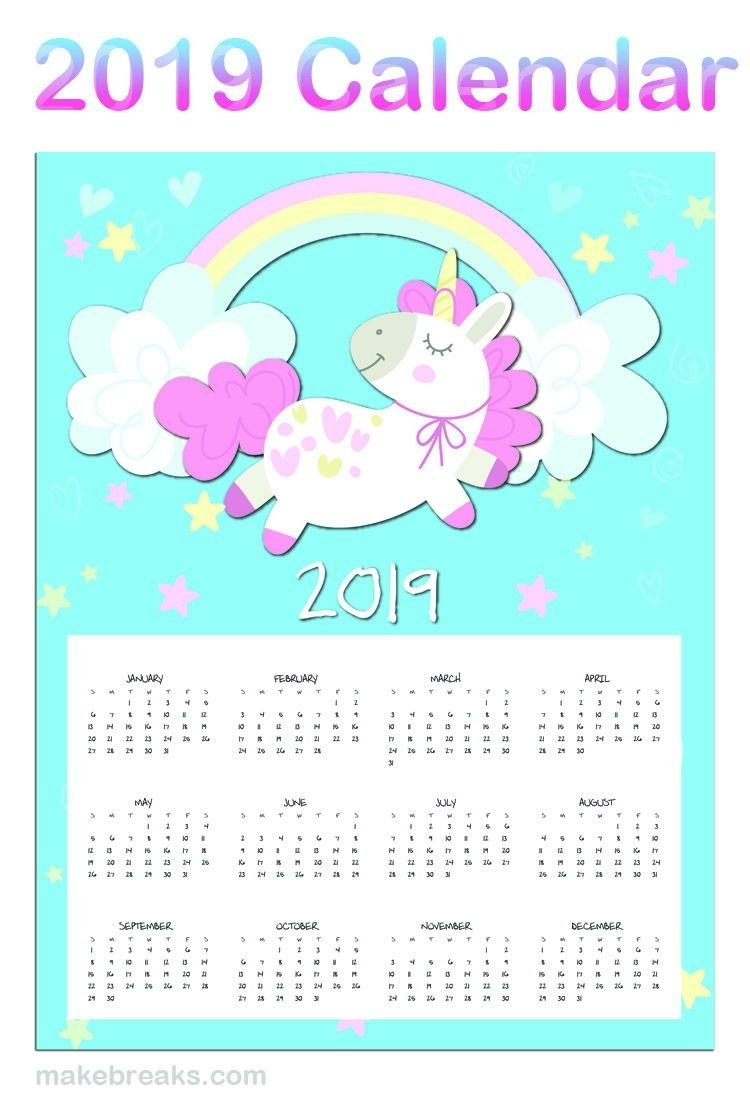 Free Printable Unicorn One Page 2019 Calendar | 2019 Planner Calendar 2019 Unicorn