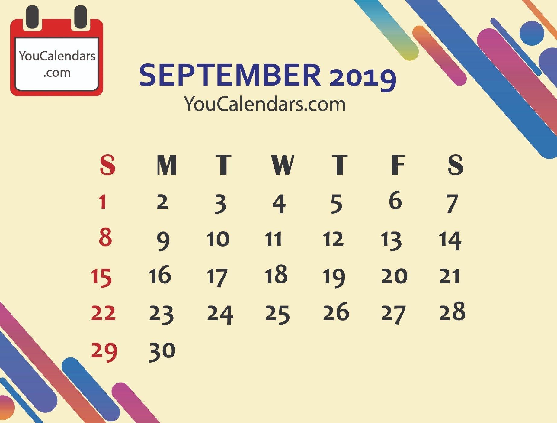 Free September 2019 Calendar Printable Template – You Calendars September 7 2019 Calendar