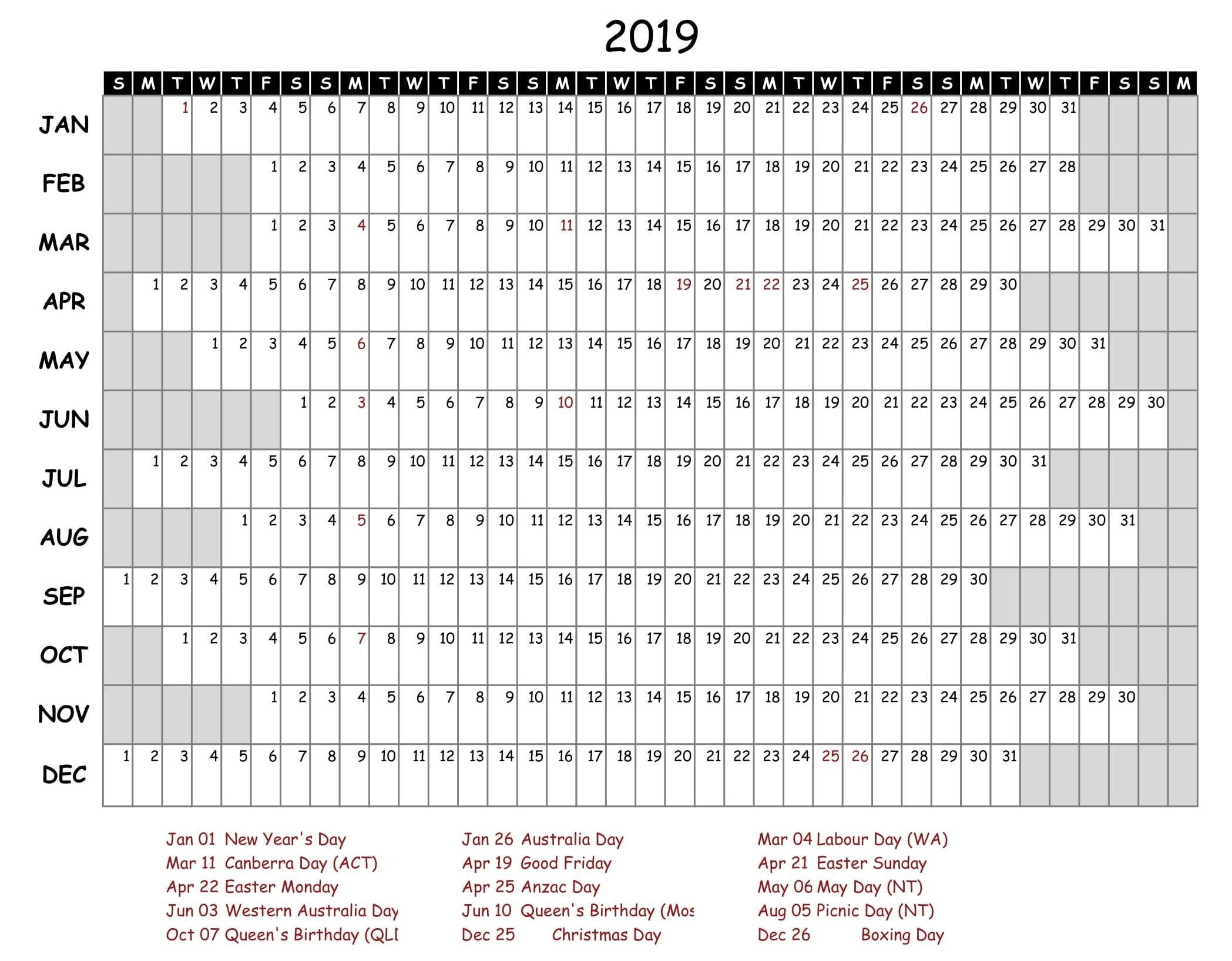 Free Yearly Calendar 2019 With Holidays   Free Printable 2018 Calendar 2019 Yearly Template