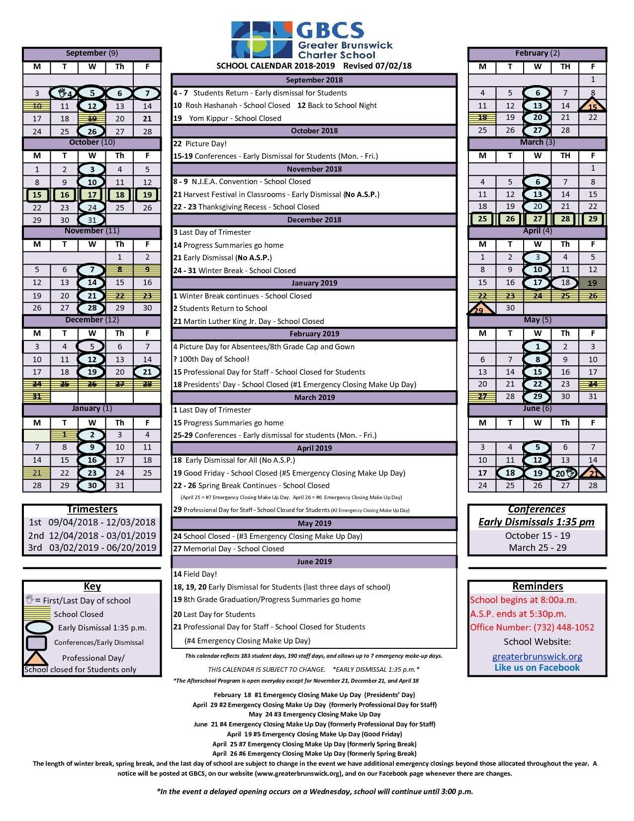 Gbcs 2018 2019 Calendar – Greater Brunswick Charter School Unit 5 Calendar 2019