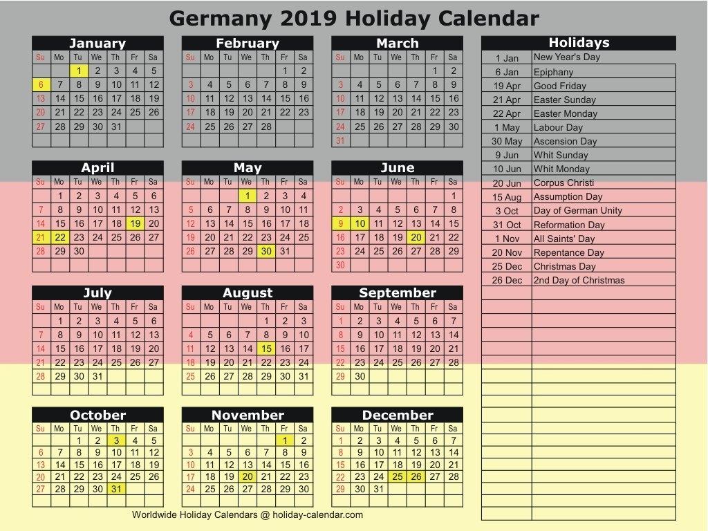 Germany 2019 / 2020 Holiday Calendar Calendar 2019 Germany