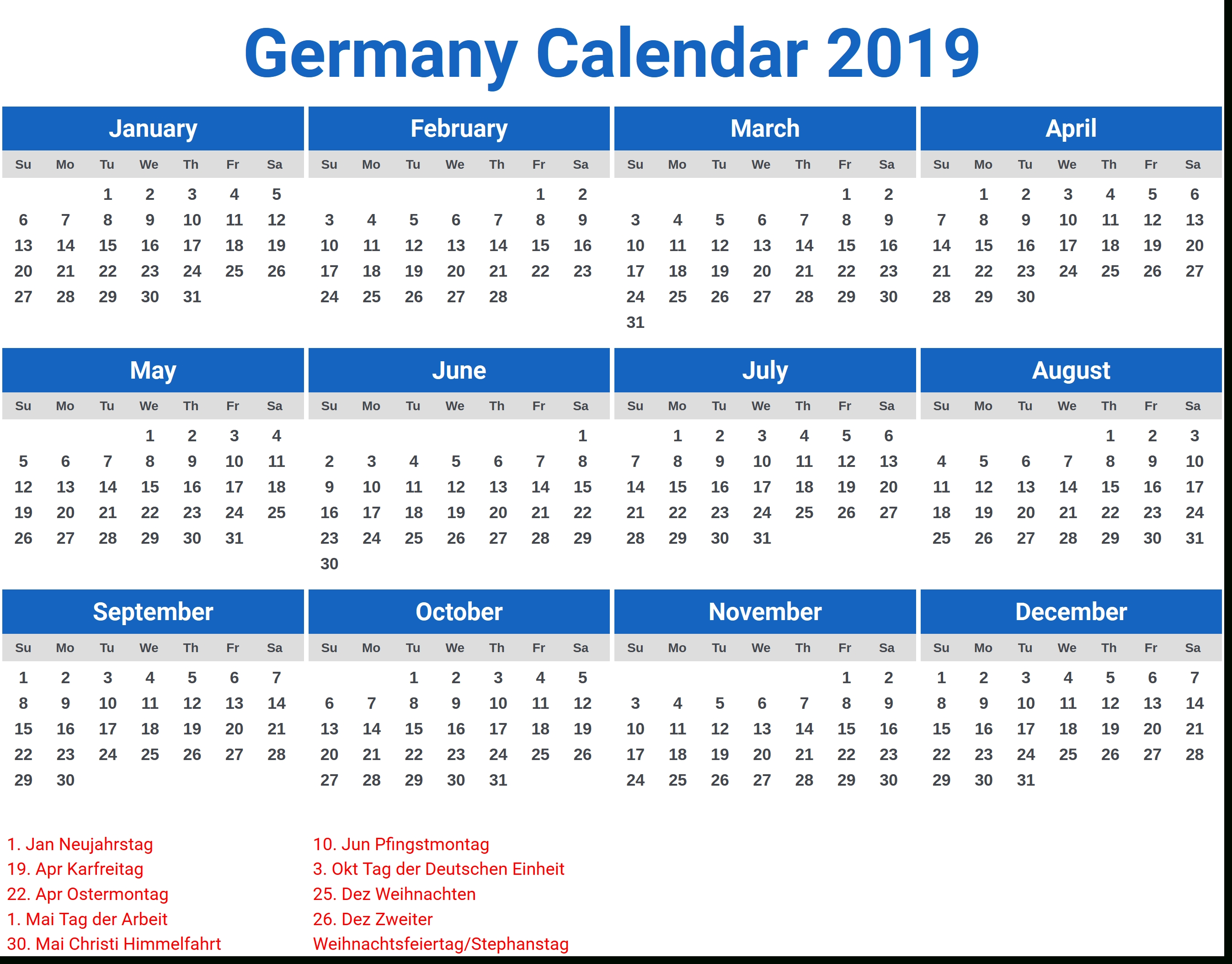 Germany 2019 Calendar With Holidays   2019 Calendars   Pinterest Calendar 2019 Excel Germany