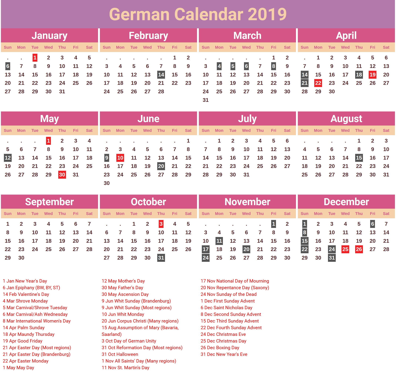 Germany 2019 Holidays Calendar | 2019 Calendars | Calendar, 2019 Calendar 2019 Germany