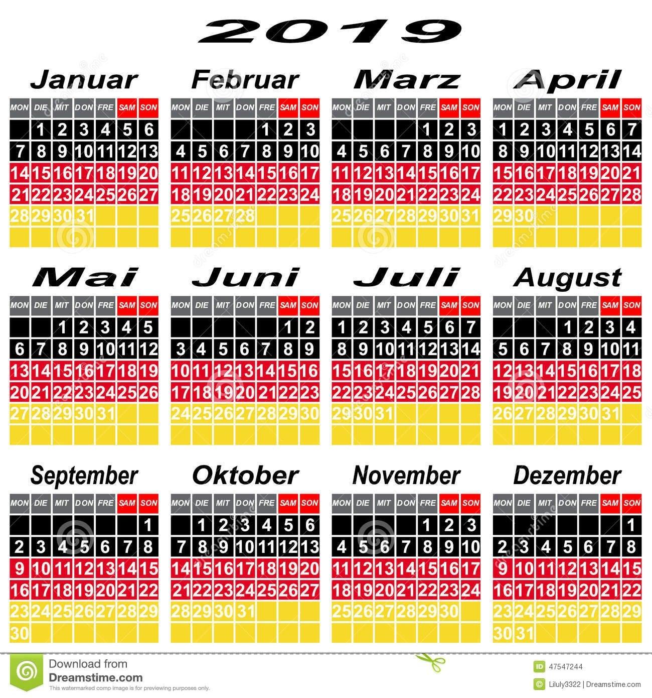 Germany Calendar Of 2019. Stock Vector. Illustration Of Countdown Calendar 2019 Germany