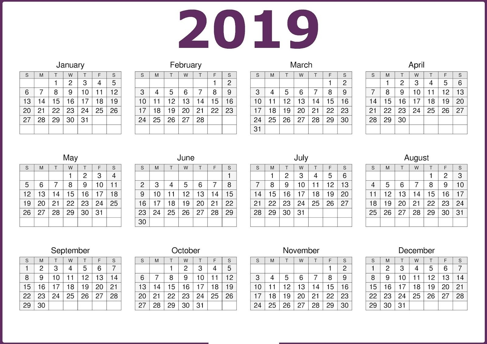 Get Free Blank Calendar Pages 2019 Templates | August 2018 Calendar 2019 Calendar Qld Template