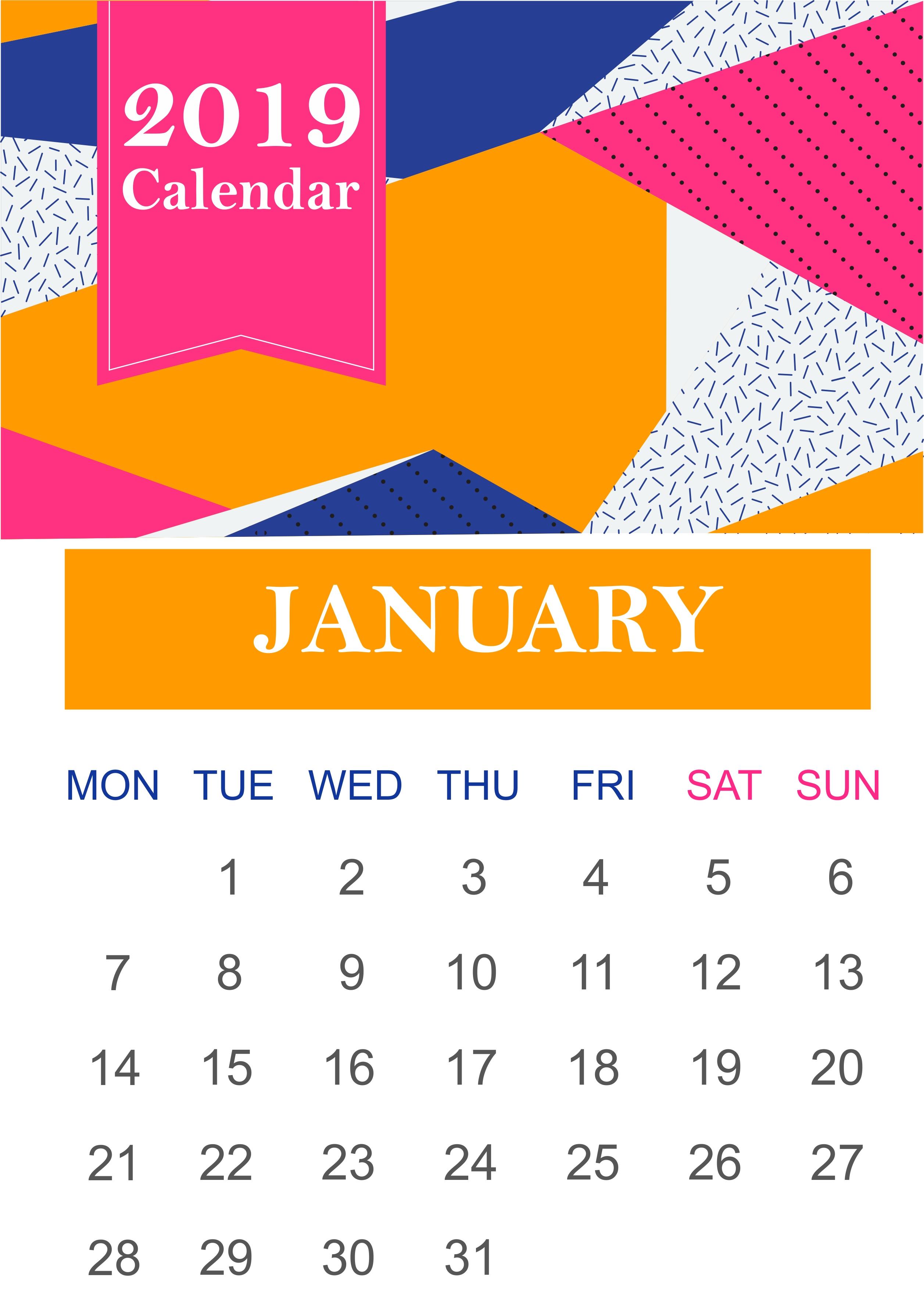 Get Free January 2019 Calendar Template – Whatsappstatusonline 9 Lives Calendar 2019