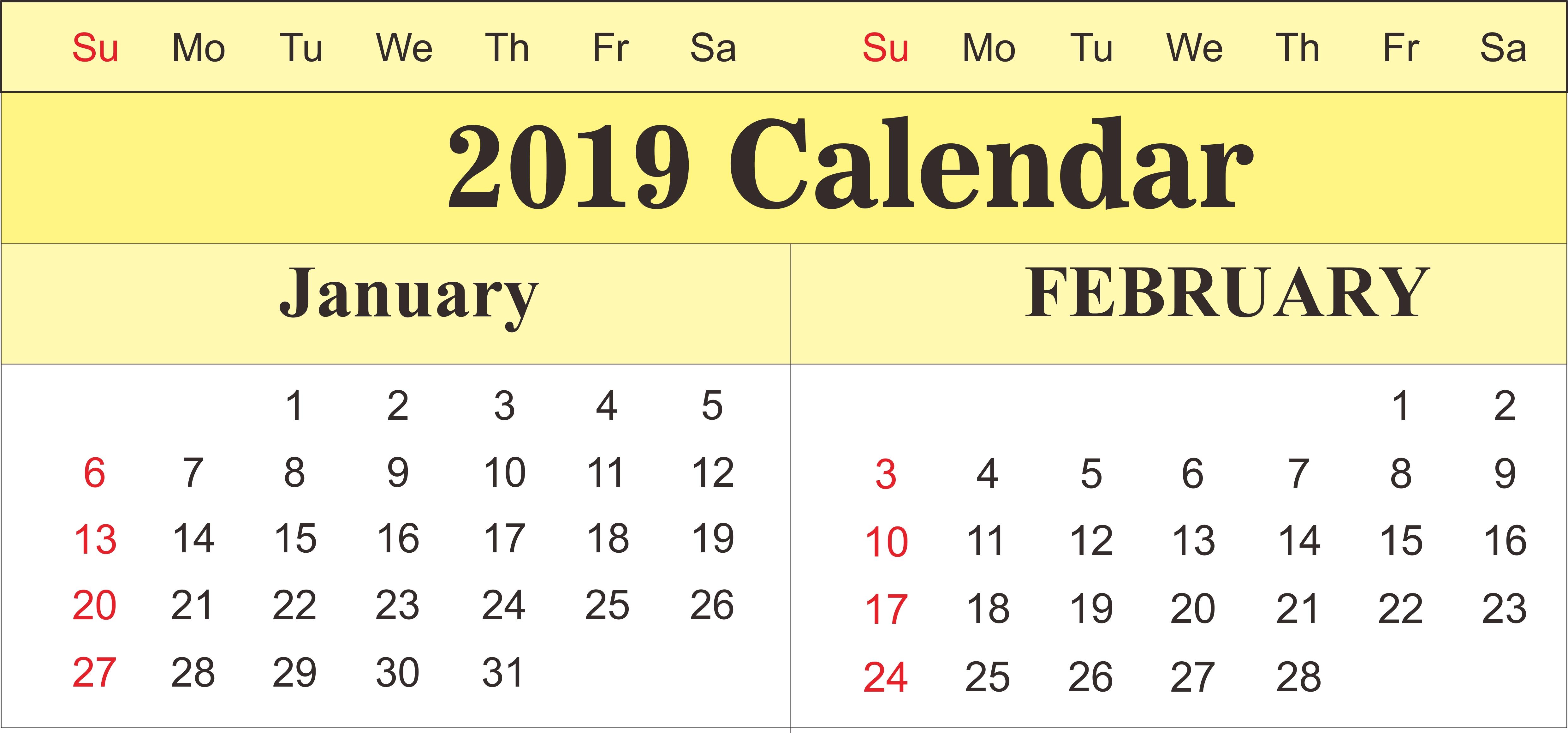 Get Free January And February 2019 Printable Calendar Templates January 7 2019 Calendar