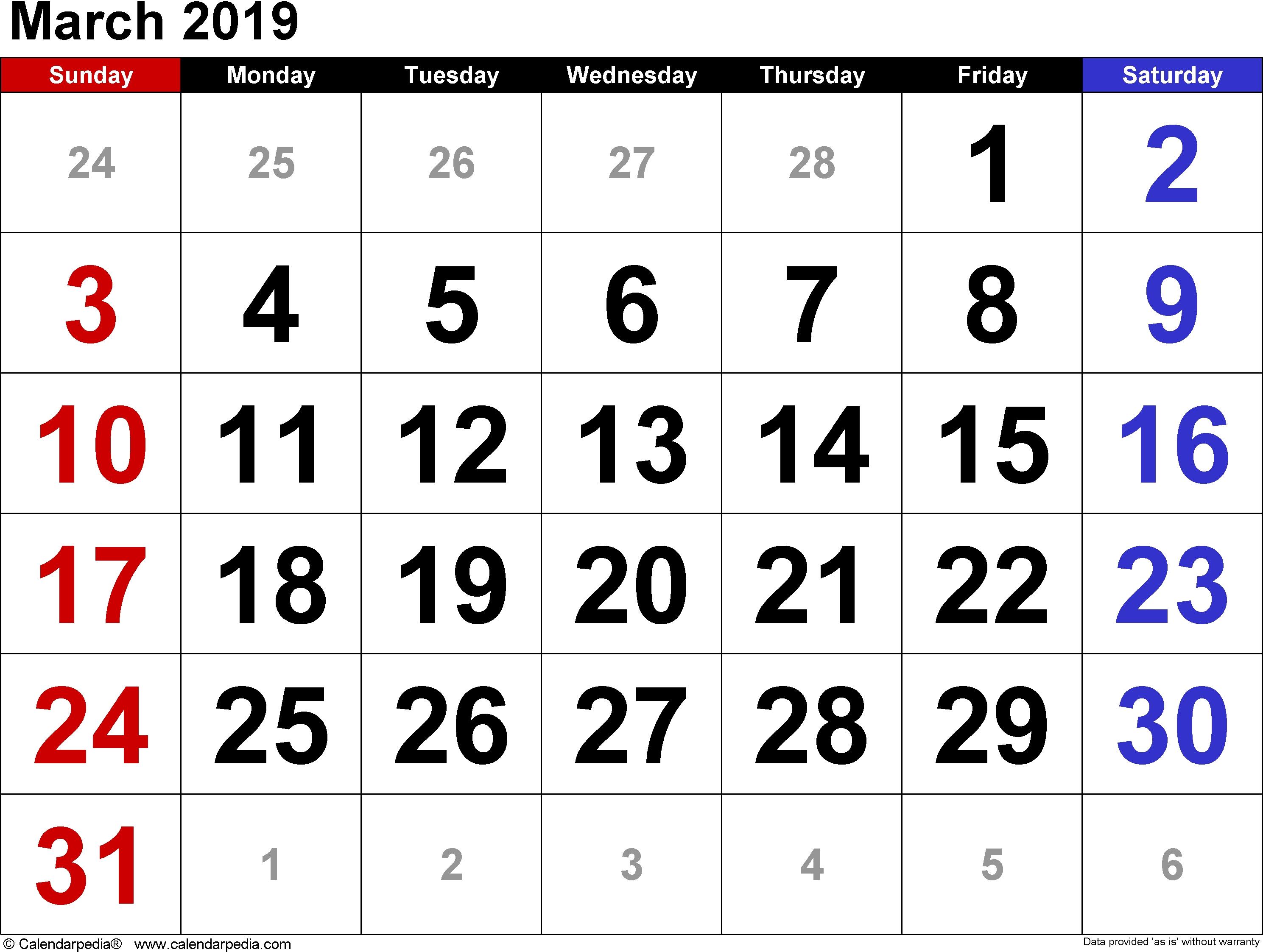 Get Free Template March 2019 A4 Calendar – Free Calendar And Holidays March 9 2019 Calendar