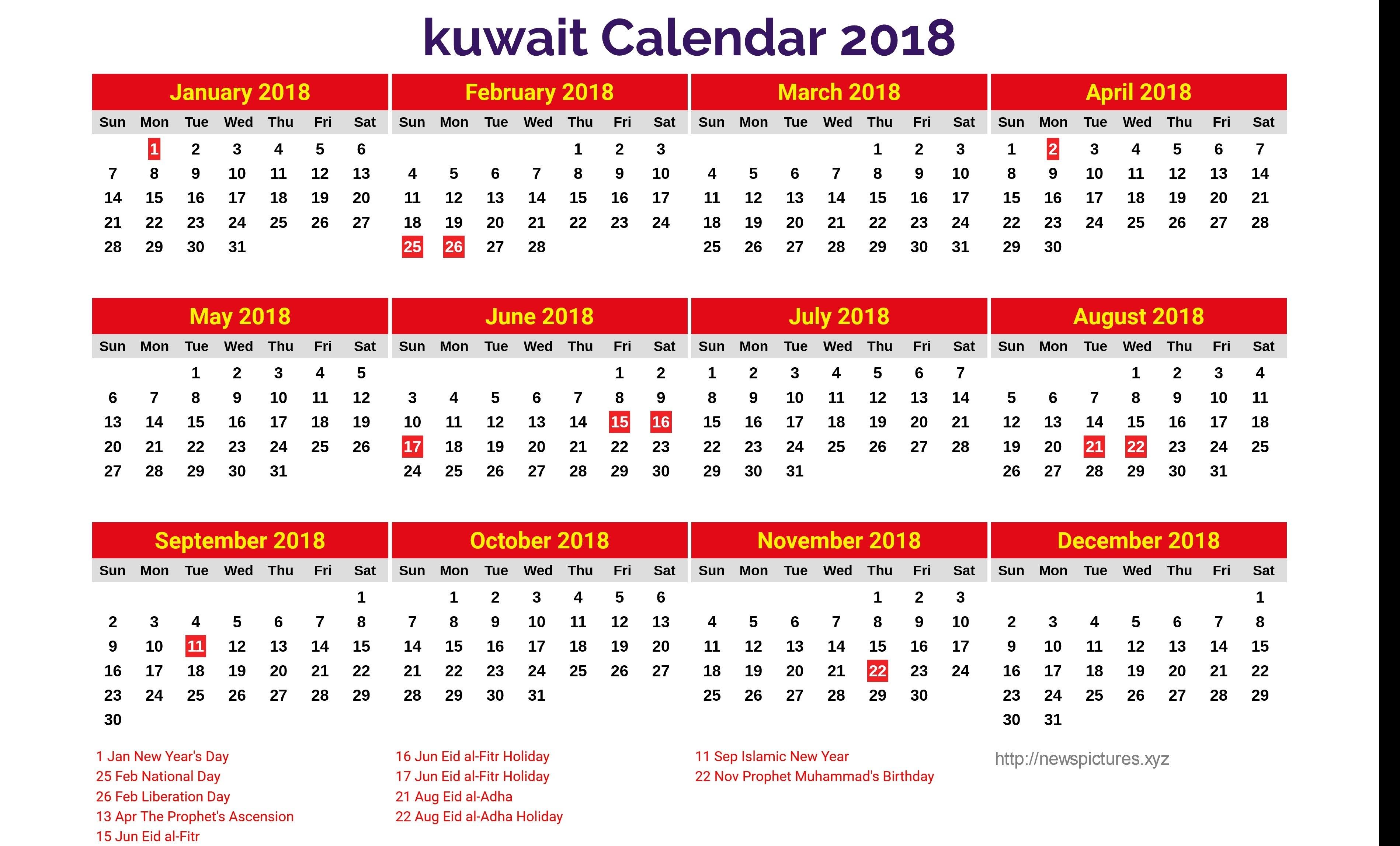 Get Free Templates Yearly Calendar 2019 Kuwait Holiday Download Calendar 2019 Kuwait