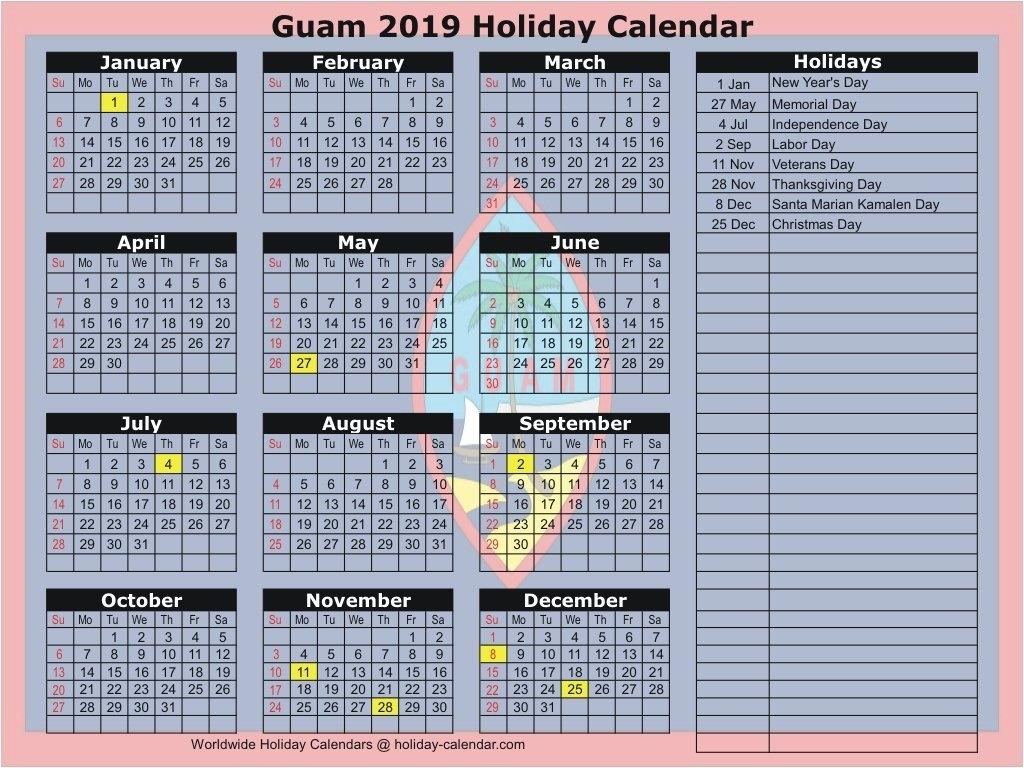 Guam 2019 / 2020 Holiday Calendar Calendar 2019 Labor Day