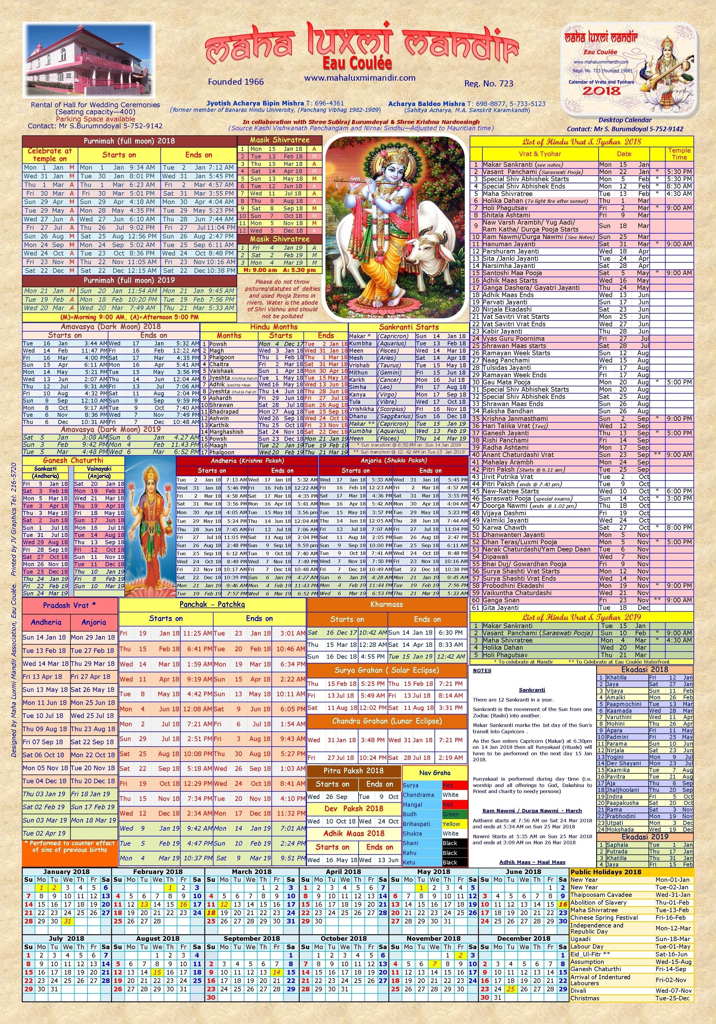 Hindu Calendar | Maha Luxmi Mandir, Eau Coulee, Mauritius Calendar 2019 Vrat