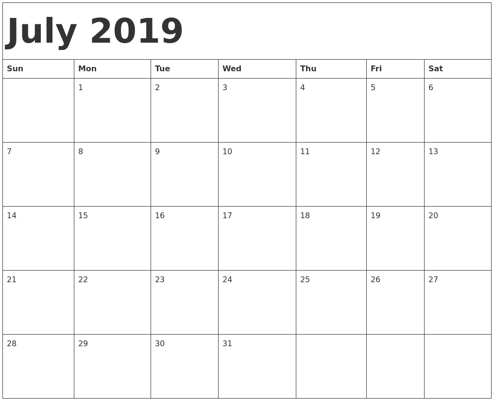 Holiday Calendar 2019 July Archives – Free Calendar And Holidays Calendar Of 2019 July