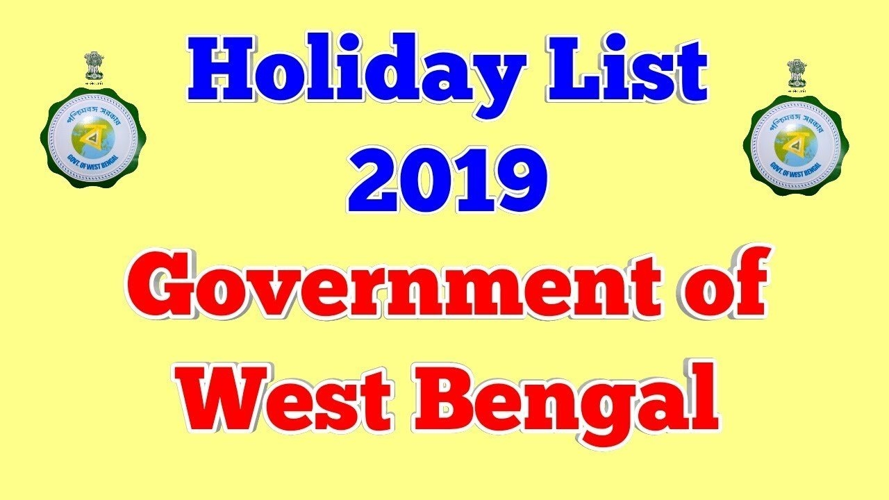 Holiday List 2019, Government Of West Bengal – Youtube W B Govt Calendar 2019