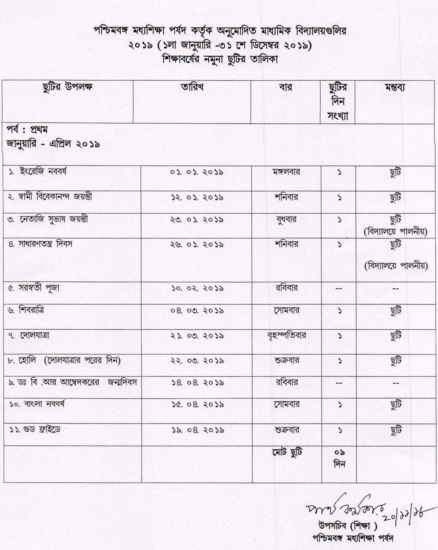 Holiday List Of West Bengal Board Of Secondary Education 2019 | Wbxpress Calendar 2019 List Of Holidays