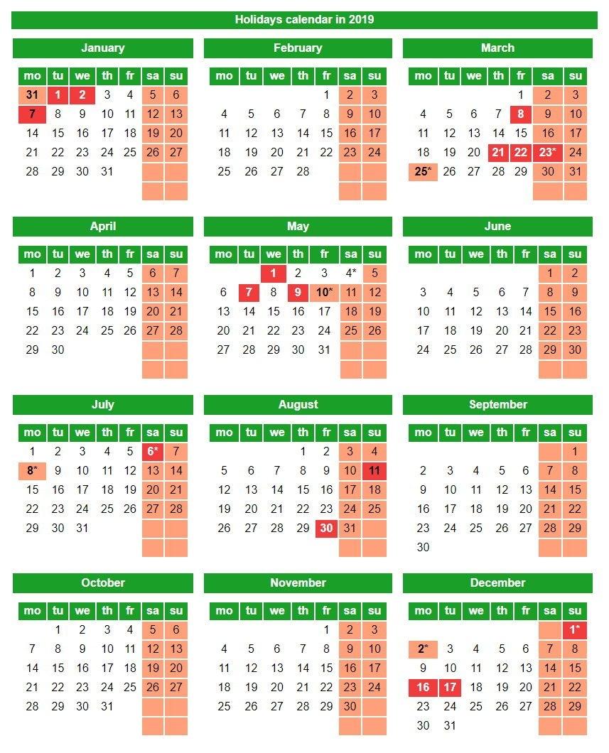 Holidays And Weekends In The Republic Of Kazakhstan In 2019 Calendar 2019 Kazakhstan