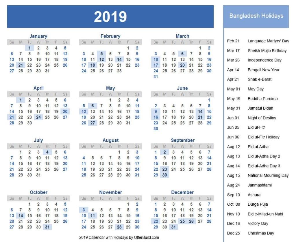 Holidays Bangladesh 2019 Calendar Government Pdf – Offerbuild Calendar 2019 List Of Holidays