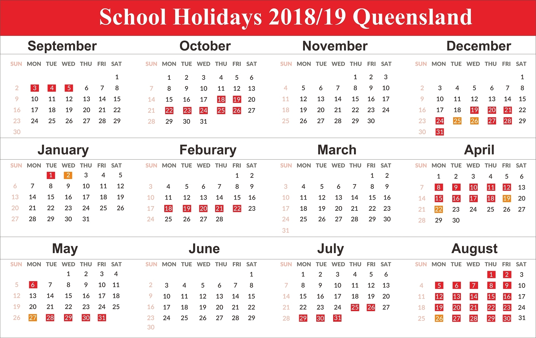 Holidays Calendar Qld 2019 • Printable Blank Calendar Template Calendar 2019 Qld