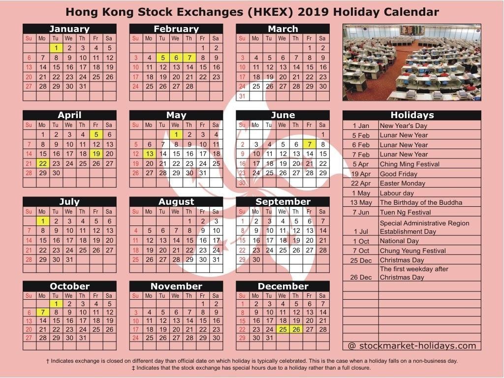 Hong Kong Stock Exchange 2019 / 2020 Holidays : Hkex Holidays 2019 Calendar 2019 Hong Kong