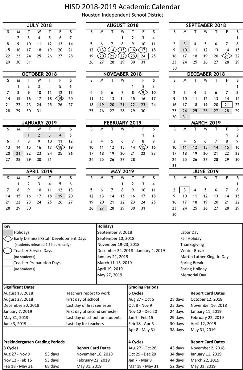 """Houston Isd On Twitter: """"now Available! Download Your 2018-2019 Calendar 2019 Hisd"""