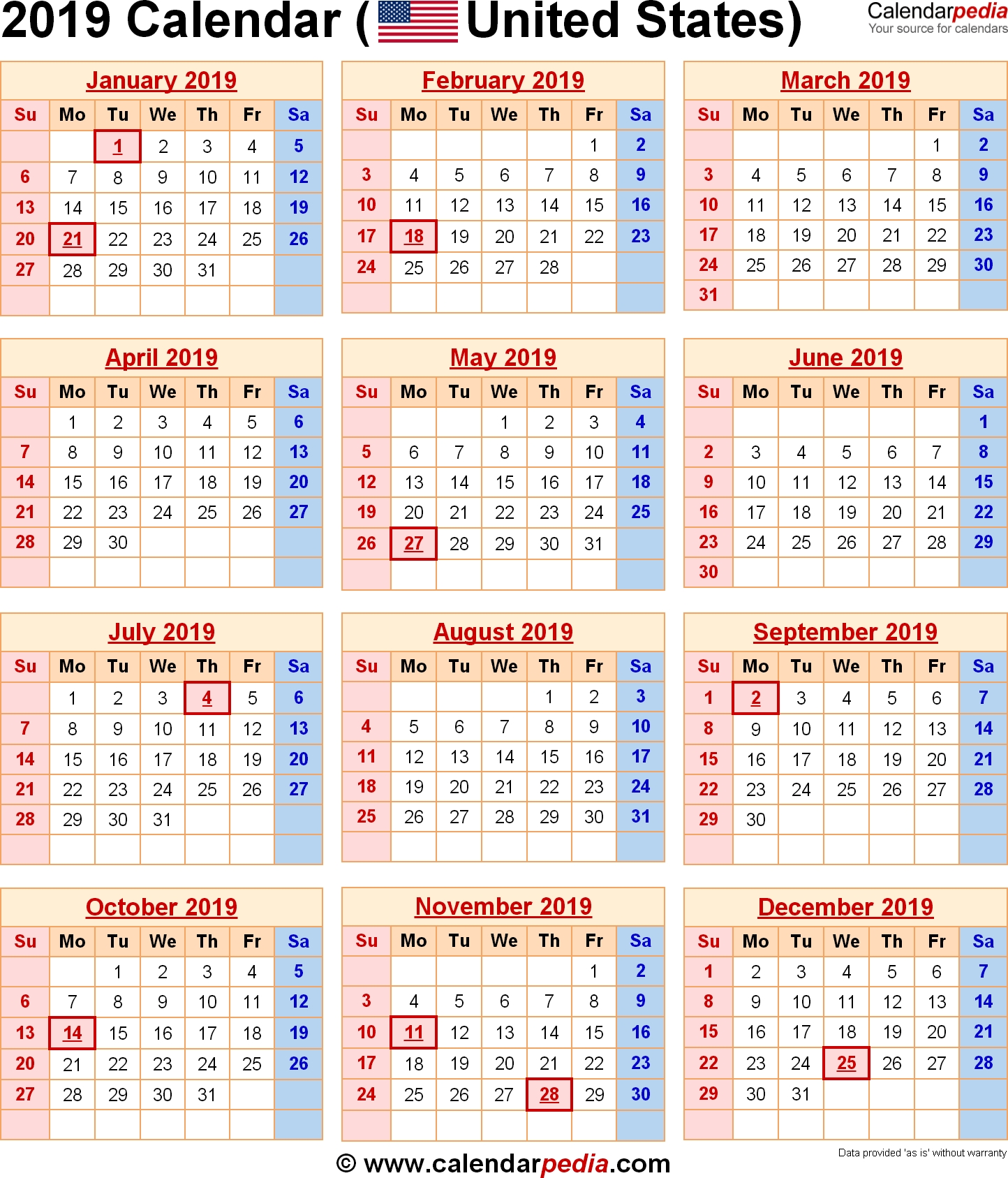 Image Result For 2019 Calendar With Holidays Usa | A Today Calendar 2019 With Holidays Usa
