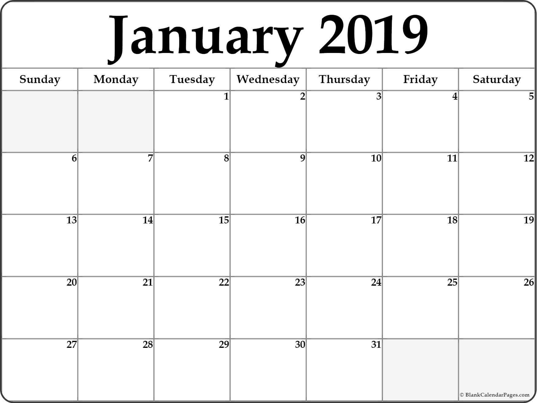 Image Result For Printable 2019 Calendar | Calendars & Planners Calendar 2019 Template