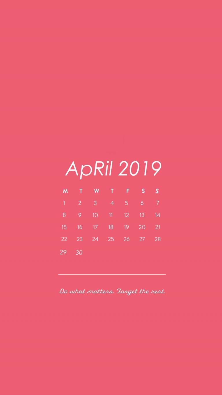 Iphone Wallpapers  Pink Background Calendar April 2019 | April2019 5Sos Calendar 2019