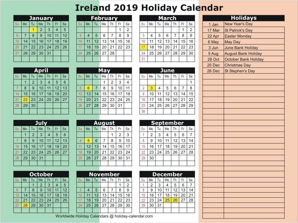 Ireland 2019 / 2020 Holiday Calendar Calendar 2019 Ireland